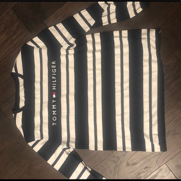 Black and white striped Tommy Hilfiger long sleeve